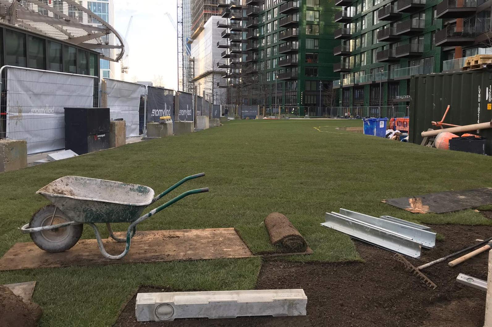 Behind the US Embassy, the Linear Park gets some turf