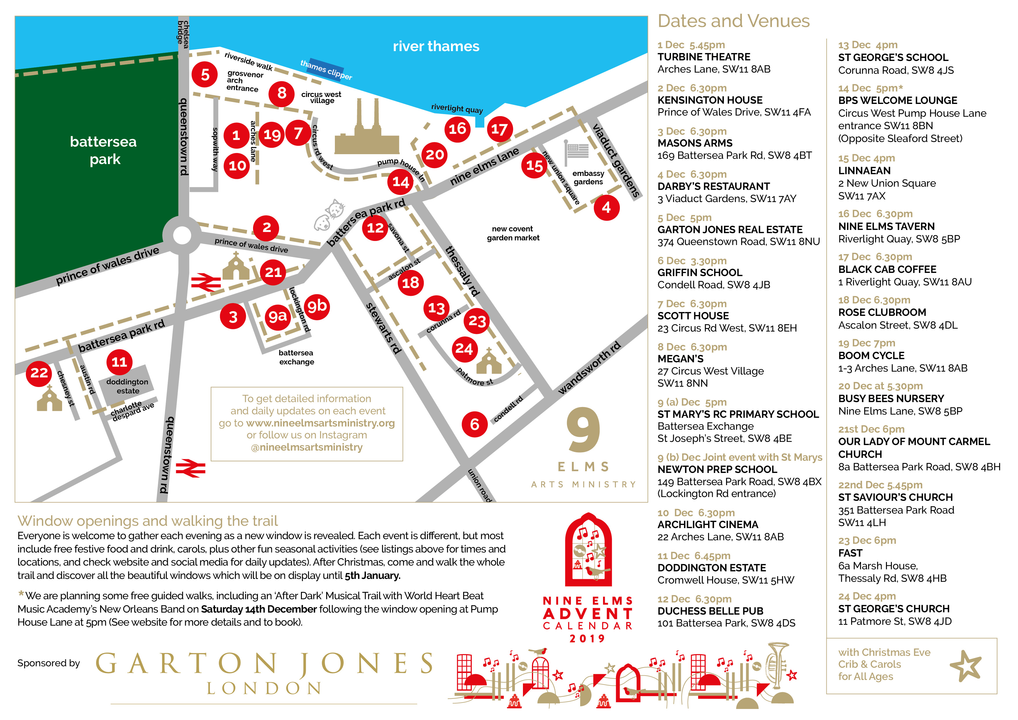 Map and guide for Nine Elms Advent Calendar